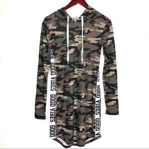 Camo good vibes long sleeve bodycon hoodie dress